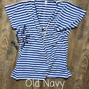 OLD NAVY SWIMMING SUIT COVER BLUE/WHITE STRIP, XS